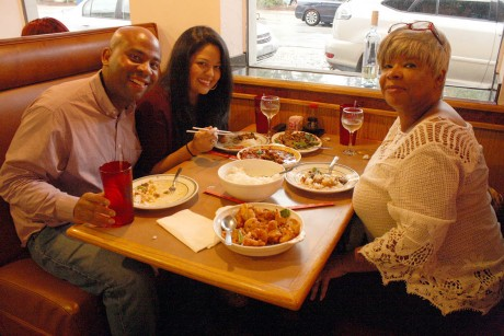 Evan and Alona Sloan, Jessica Solis enjoying a meal