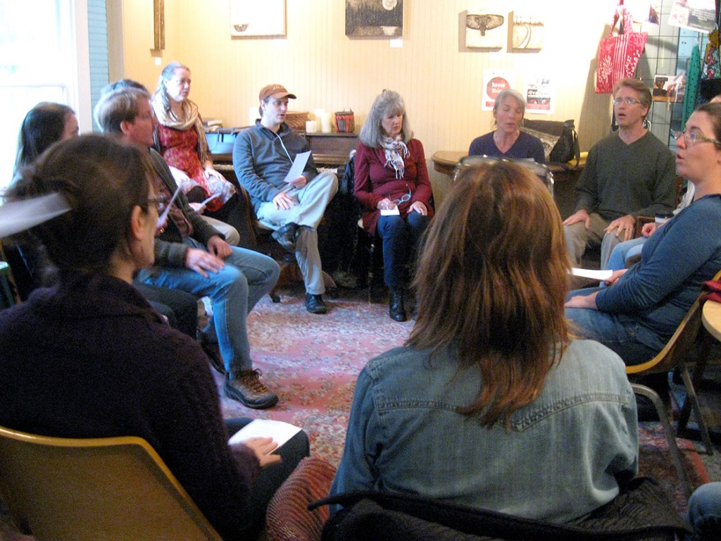 Michael Newton and Stephanie Johnston, second and third from the right, lead a music workshop. They taught traditional Gaelic songs. Staff photo by Liz Tablazon.