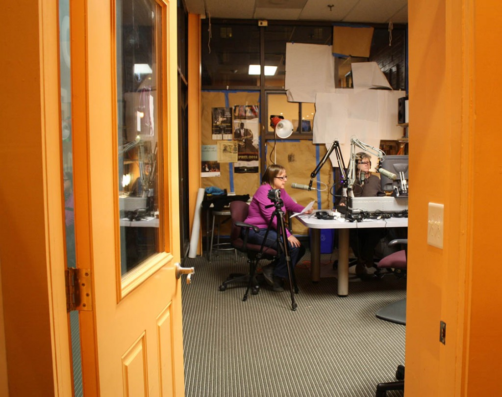 Jackie Helvey and Valarie Schwartz on air at WCOM in Carrboro.