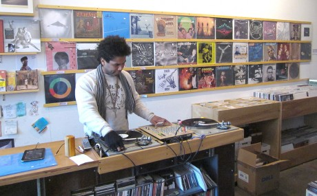 All Day Records plays and mixes requested music on the turntable inside the store while you browse the selection.""