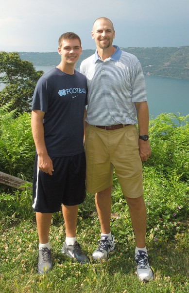 Andrew Montross (left) with his father and former NBA player Eric Montross (right). Photo courtesy of Andrew Montross.