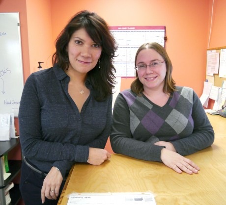 Perla Saitz (left), co-owner and Spanish teacher, and Sara Biondi, office manager and teacher of Japanese at CHICLE, said they both love their jobs. Saitz said that being the owner entails a lot of responsibility, which adds another layer of worries as well as satisfaction. (Staff photo by Sophie Wu)