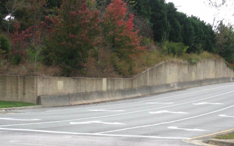 "The ""ramp"" section of the Carrboro Mural Project. This section of the wall is located on the exit ramp from Highway NC 54 onto Jones Ferry Rd. About 24,000 cars pass by on NC 54 every day. (Photo courtesy of Michael Adamson)"