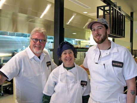 Ben, Karen and Gabe Barker in Pizzeria Mercato. This is a family who loves food: Ben and Karen ran Magnolia Grill in Durham for more than twenty years and are now helping Gabe with the already popular pizzeria. (Staff photo by Grant Masini)