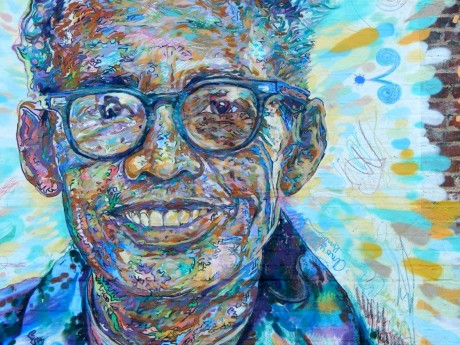"Pauli Murray is painted in the mural ""True Community,"" on 313 Foster Street in Durham. The painting, one of five murals throughout Durham, grew out of the Face Up: Telling Stories of Community Life collaborative public art project. The mural was inspired by Pauli Murray's quote, ""True community is based upon equality, mutuality, and reciprocity. It affirms the richness of individual diversity as well as the common human ties that bind us together."" (Staff photo by Janell Smith)"