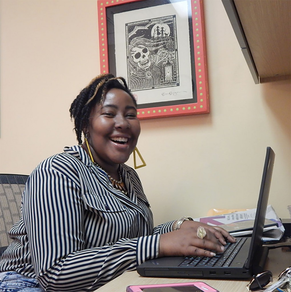 There's no such thing as a typical day in the office for Monet Marshall. Today, she's checking emails, preparing for student rehearsals with Interactive Theatre Carolina and planning for a night of fun as she hosts a lip syncing battle competition later in the evening. (Staff photo by Janell Smith)